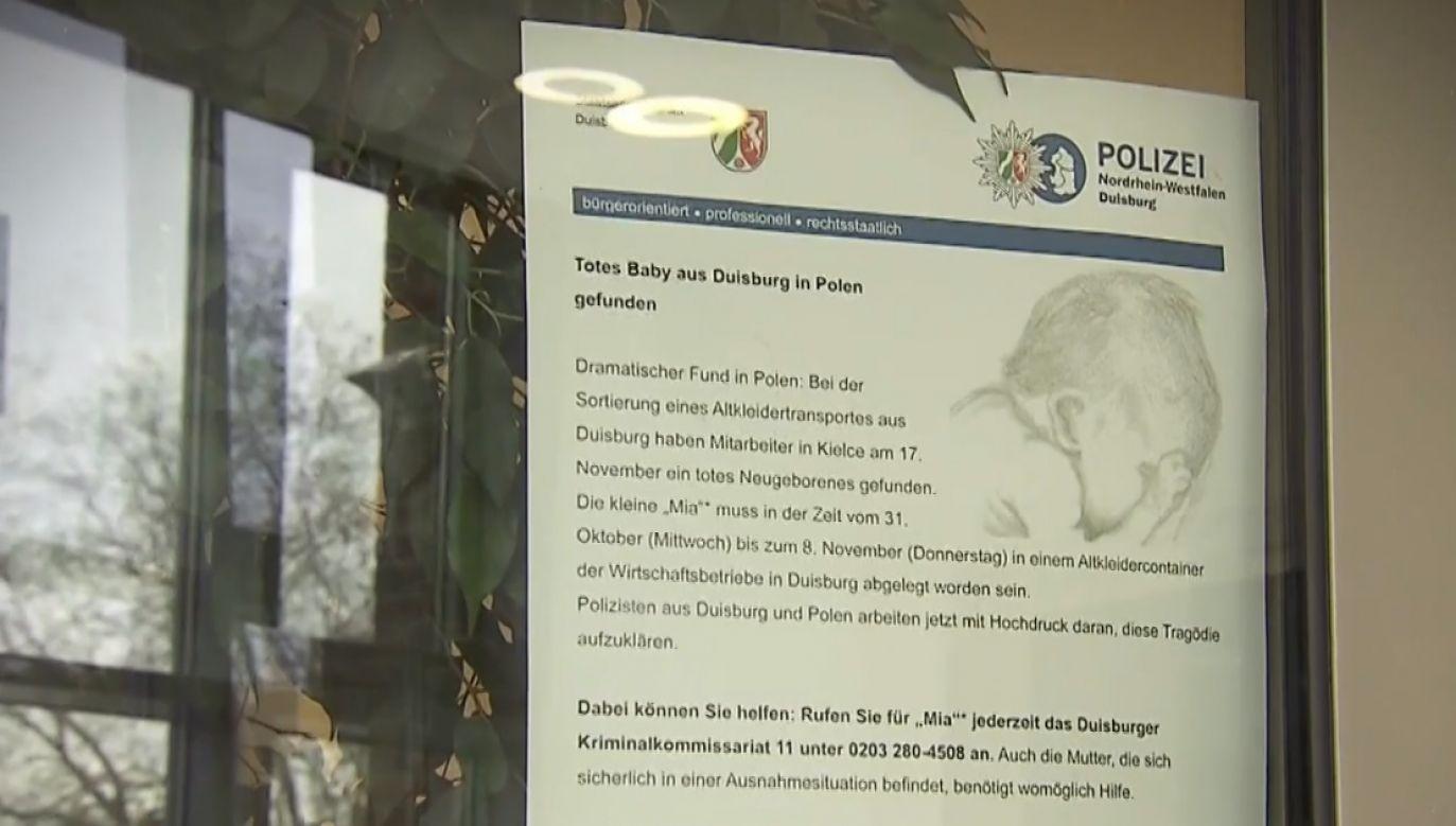 W Duisburgu zawisły plakaty z informacją o poszukiwaniach matki noworodka z Kielc (fot. TVP1)