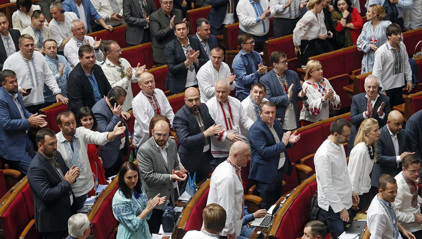 O zerwaniu koalicji poinformowała partia Front Ludowy byłego premiera Ukrainy Arsenija Jaceniuka (fot. PAP/EPA/SERGEY DOLZHENKO)