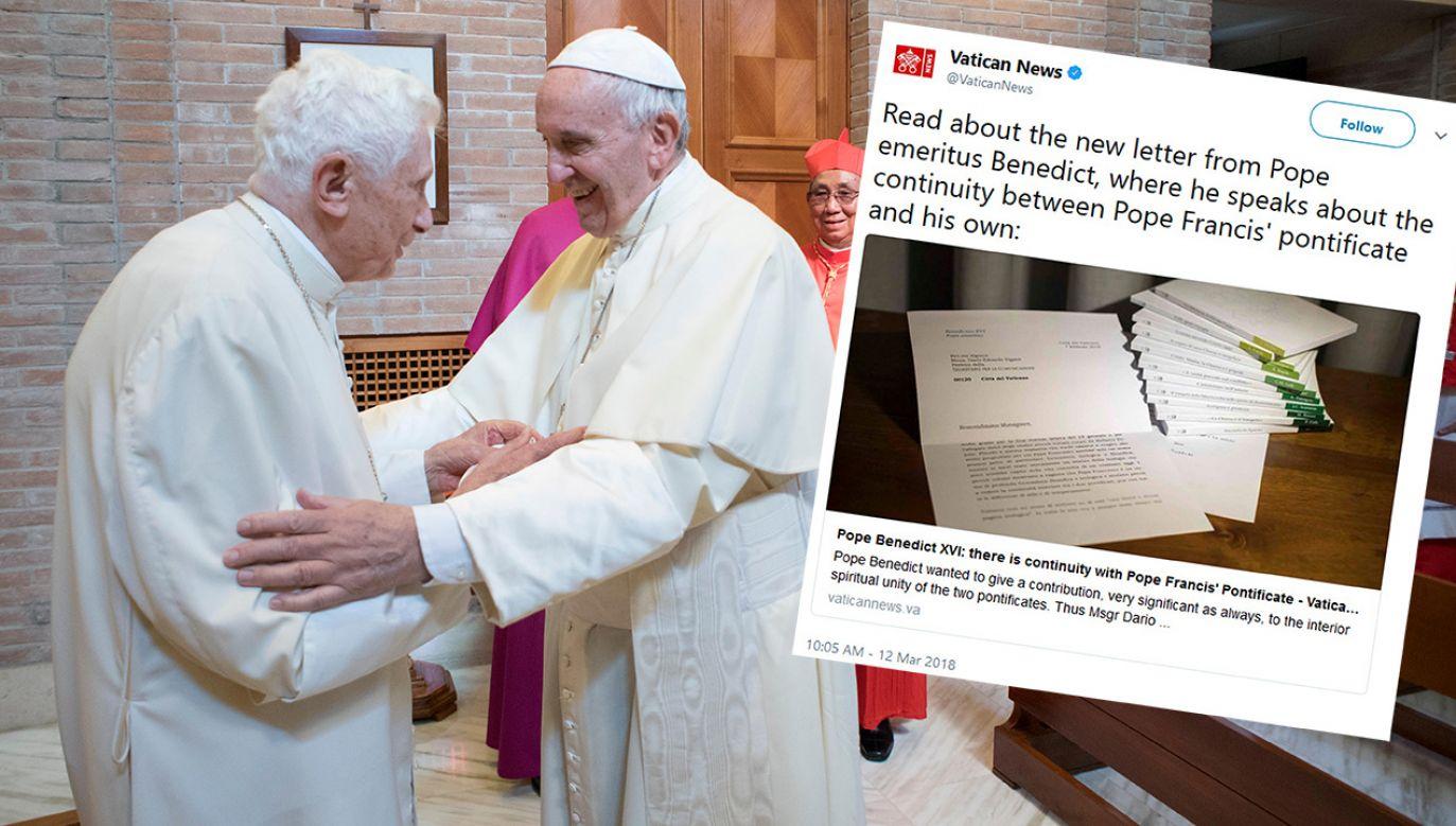 Ocenzurowanie listu znacząco zmieniło znaczenie cytatów, które Watykan udostępnił i które były szeroko komentowane przez media (fot.  Osservatore Romano/Handout via Reuters/tt/@VaticanNews