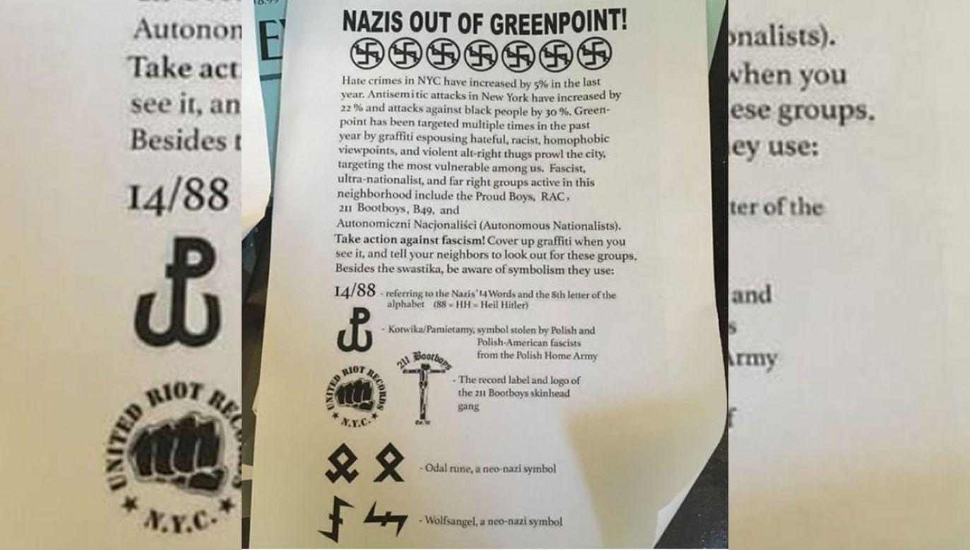"""Powstańcza """"kotwica"""" na ulotce """"Naziści precz z Greenpointu"""" (fot. Instagram/greenpointers)"""