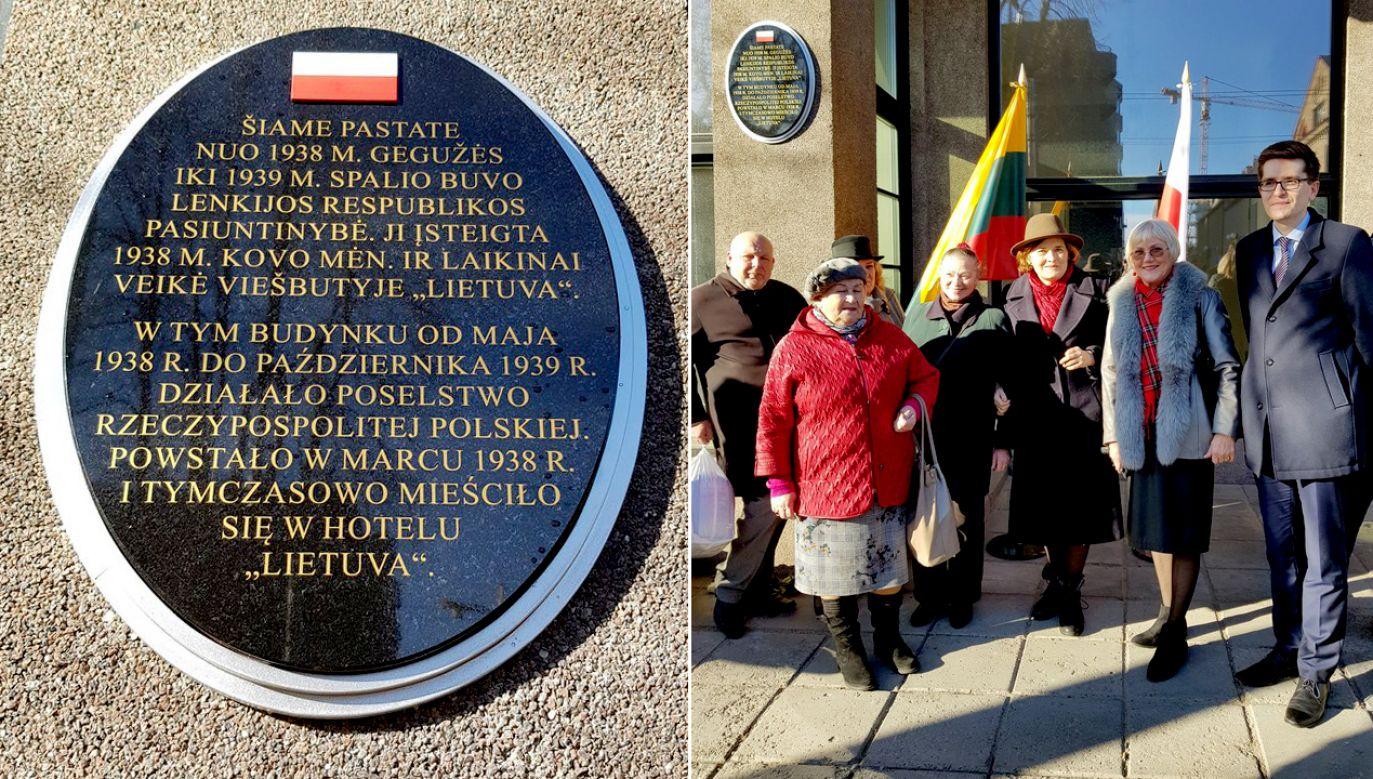 """Wicemer Kowna wskazał, że odsłonięcie tablicy """"jest ważnym symbolem w konstruowaniu współczesnych stosunków między narodami"""" (fot. TT/PL in Lithuania)"""