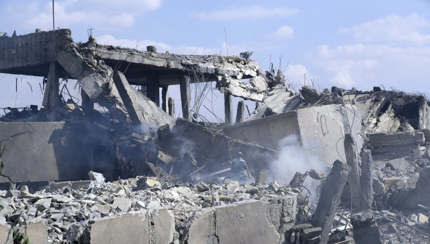 The Scientific Research Center building that was hit by the strikes that were launched on April 14, 2018 by the United States, Britain and France in Syria, in retaliation for an alleged chemical attack. Photo: EPA/YOUSSEF BADAWI