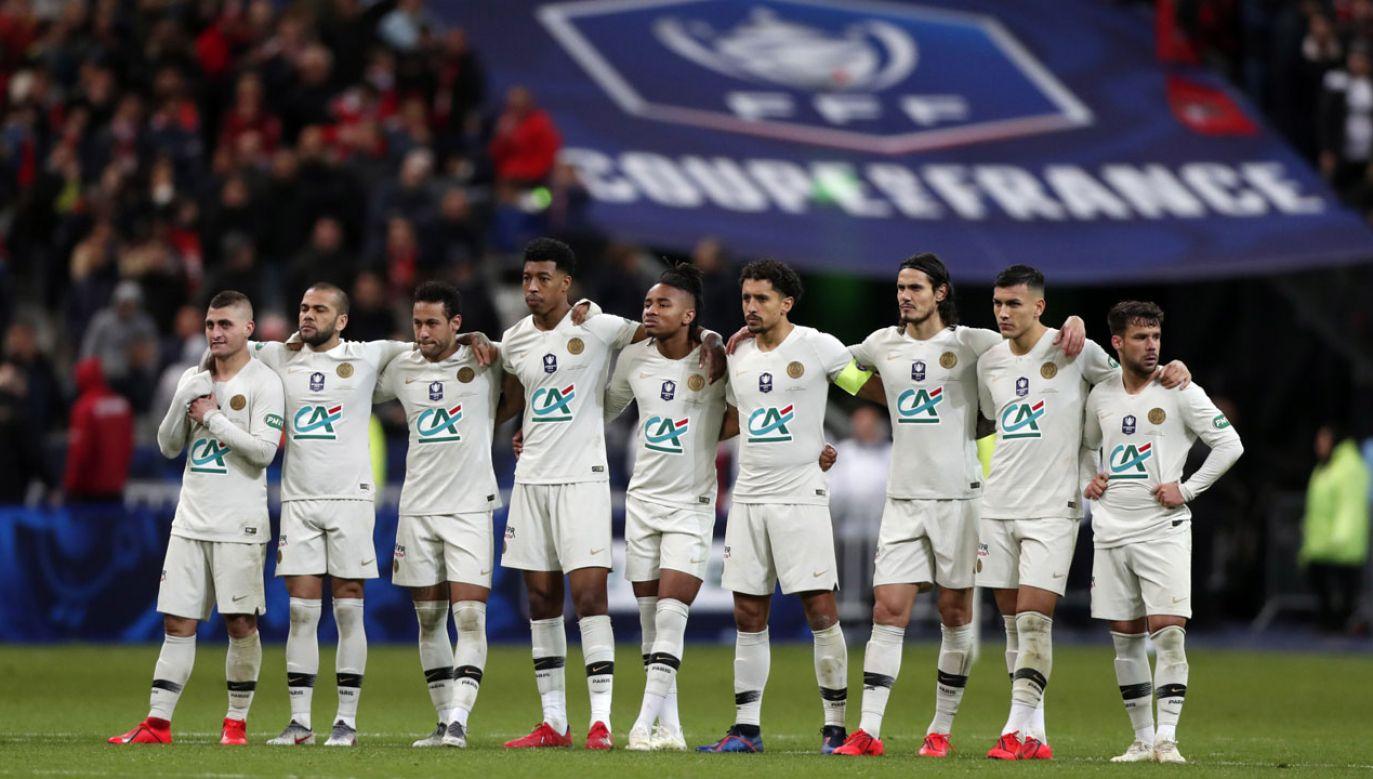 Zespół PSG w finale Pucharu Francji (fot. PAP/EPA/IAN LANGSDON)