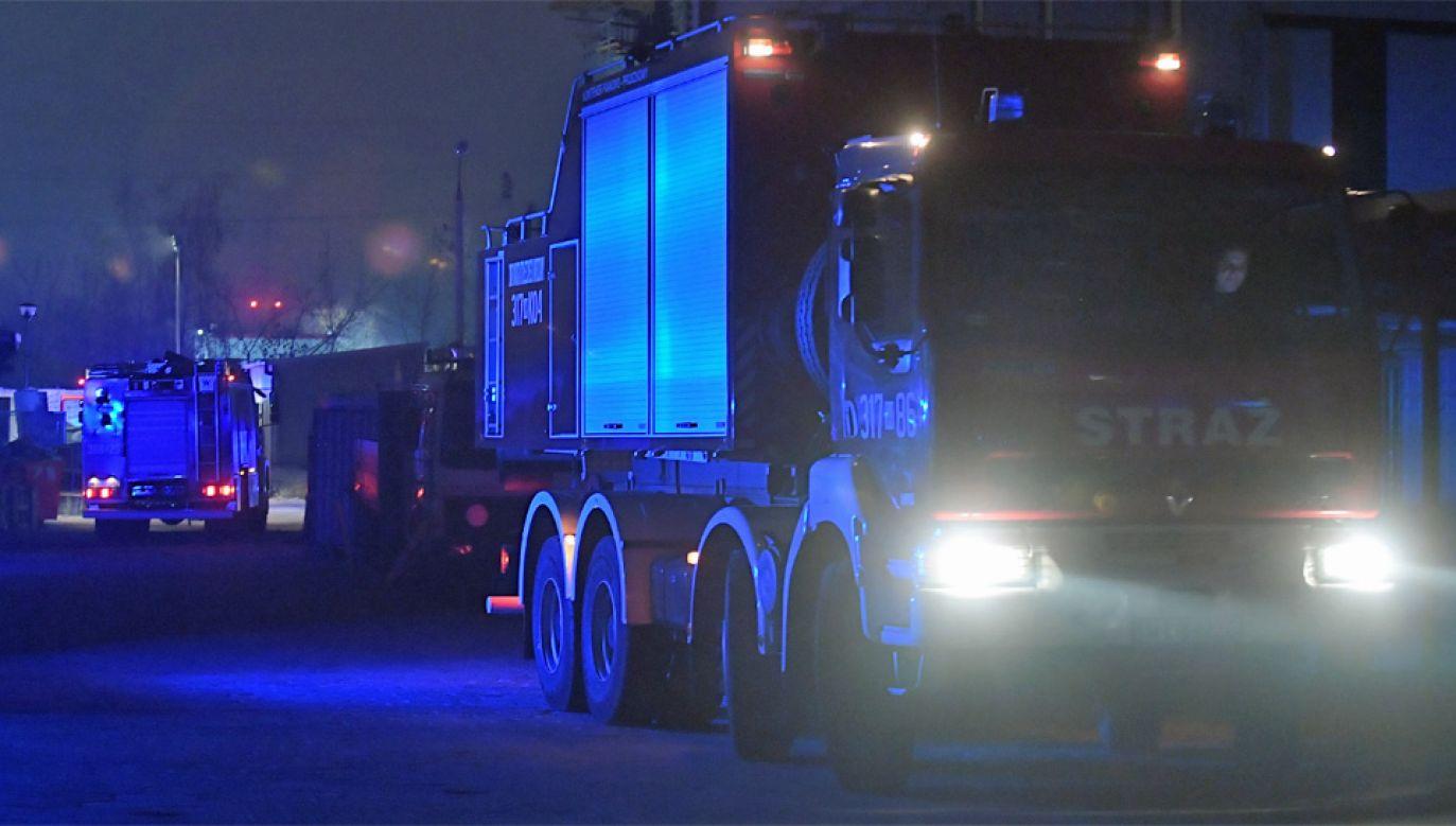 Strażacy walczą z pożarem skladowiska odpadów (fot. PAP/Marcin Obara)