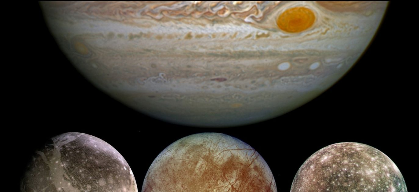 Ganymede (L), Europa (C) and Callisto (R): moons of Jupiter (TC). Photo: Wikimedia Commons/NASA