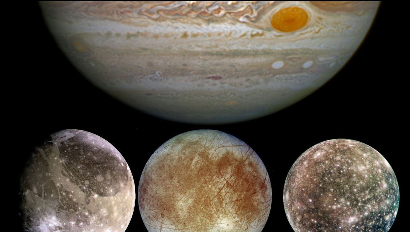 Ganymede (L), Europa (C) and Callisto (R): moons of Jupiter (TC). Photo: Wikimedia Commons/NASA