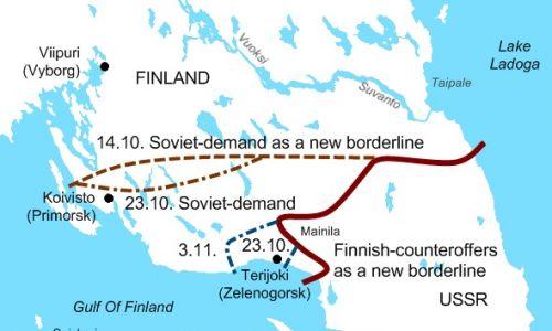 Sowieckie żądania terytorialne wobec Finlandii w Przesmyku Karelskim i kontrpropozycja strony fińskiej. Fot. Wikimedia Commons/Peltimikko - Praca własna, Domena publiczna