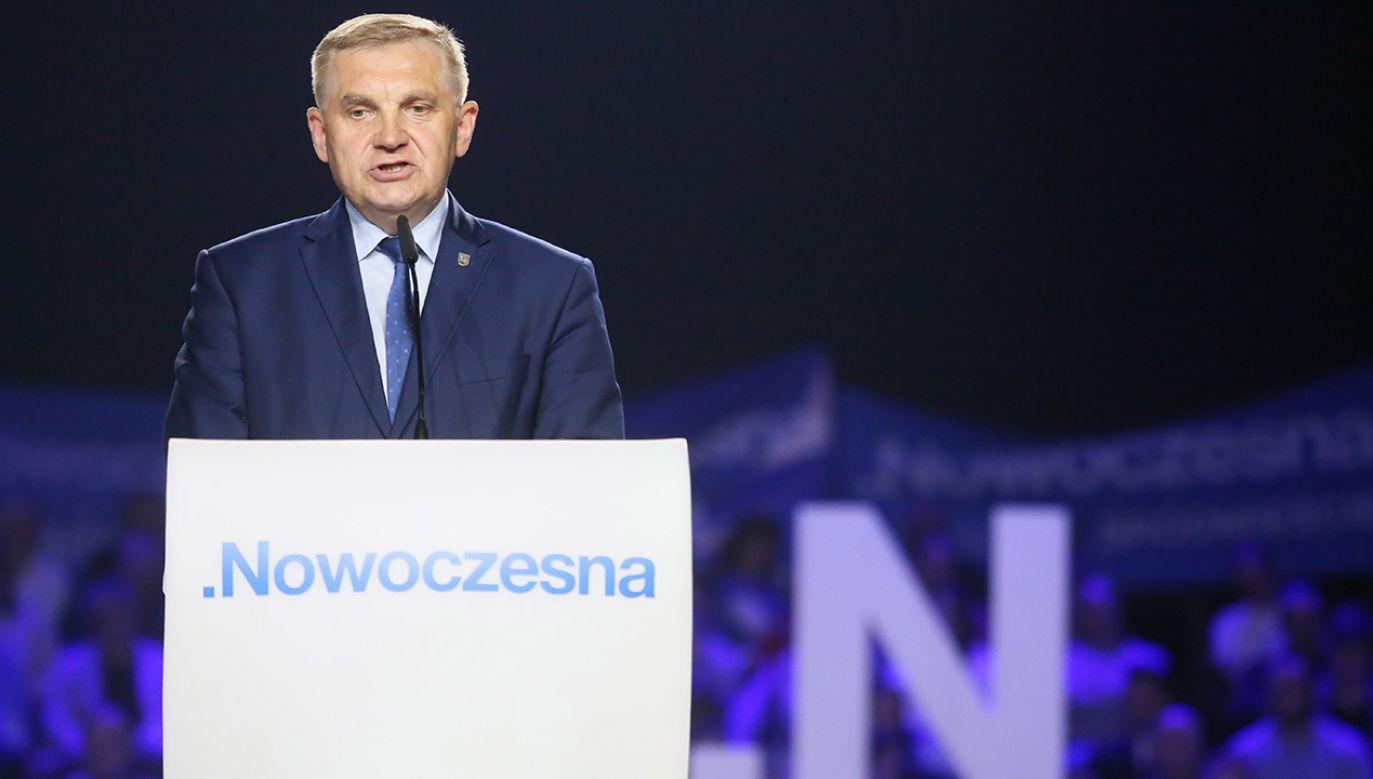 Prezydent Białegostoku Tadeusz Truskolaski podczas konwencji programowej Nowoczesnej (fot. arch.PAP/Leszek Szymański)
