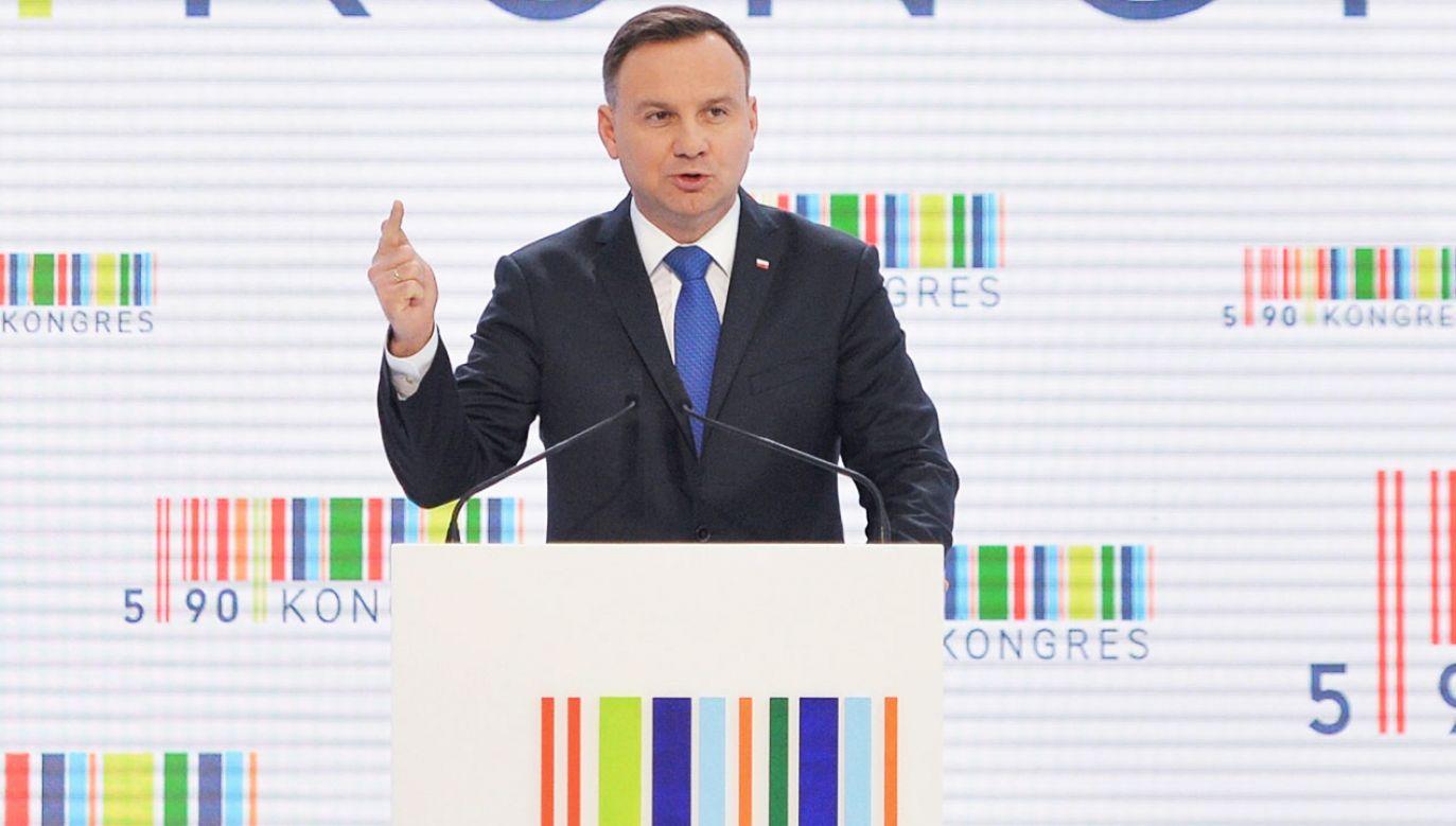 Prezydent Andrzej Duda na Kongresie 590 w 2017 r. (fot. arch.PAP/Darek Delmanowicz)