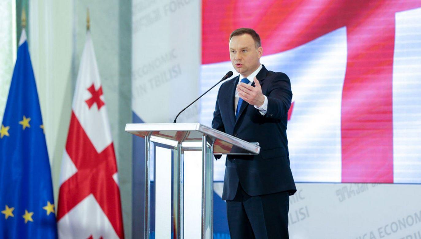 Prezydent Andrzej Duda wziął udział w otwarciu Forum Ekonomicznego w Tbilisi (fot. Kancelaria Prezydenta RP)