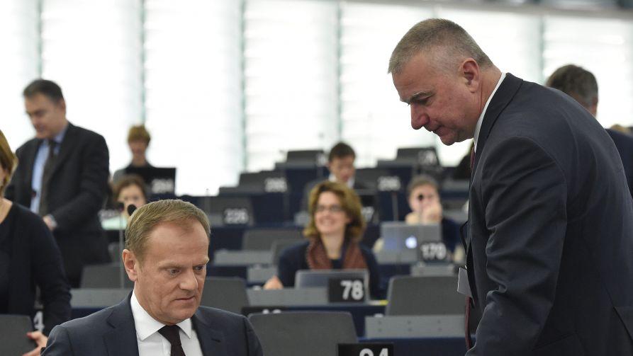 Paweł Graś (P) podczas sesji Parlamentu Europejskiego w Strasburgu (fot. PAP/Radek Pietruszka)