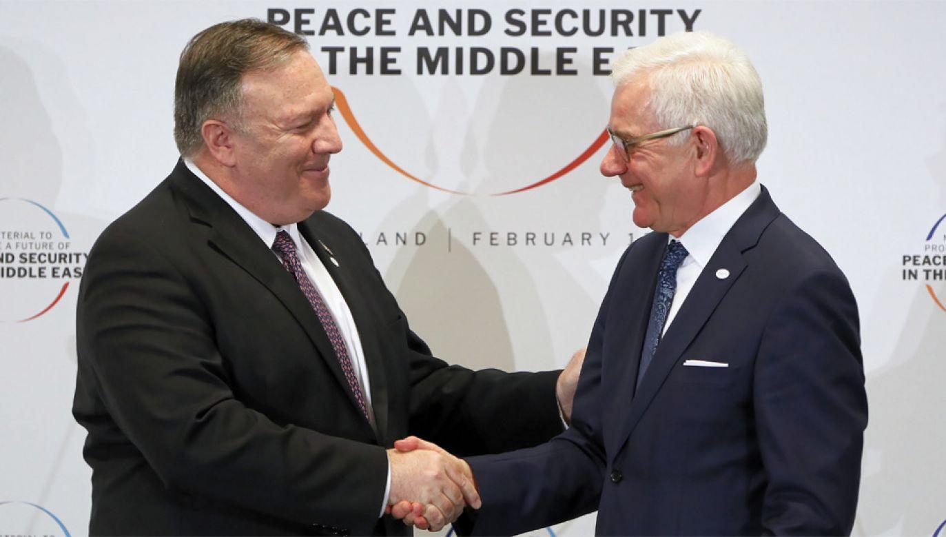 Sekretarz stanu Mike Pompeo i szef MSZ Jacek Czaputowicz (fot. PAP/Paweł Supernak)