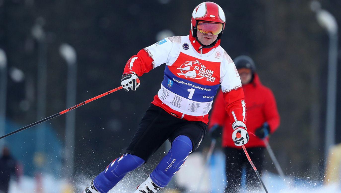 Andrzej Duda wziął udział w maratonie charytatywnym (fot. PAP/Grzegorz Momot)