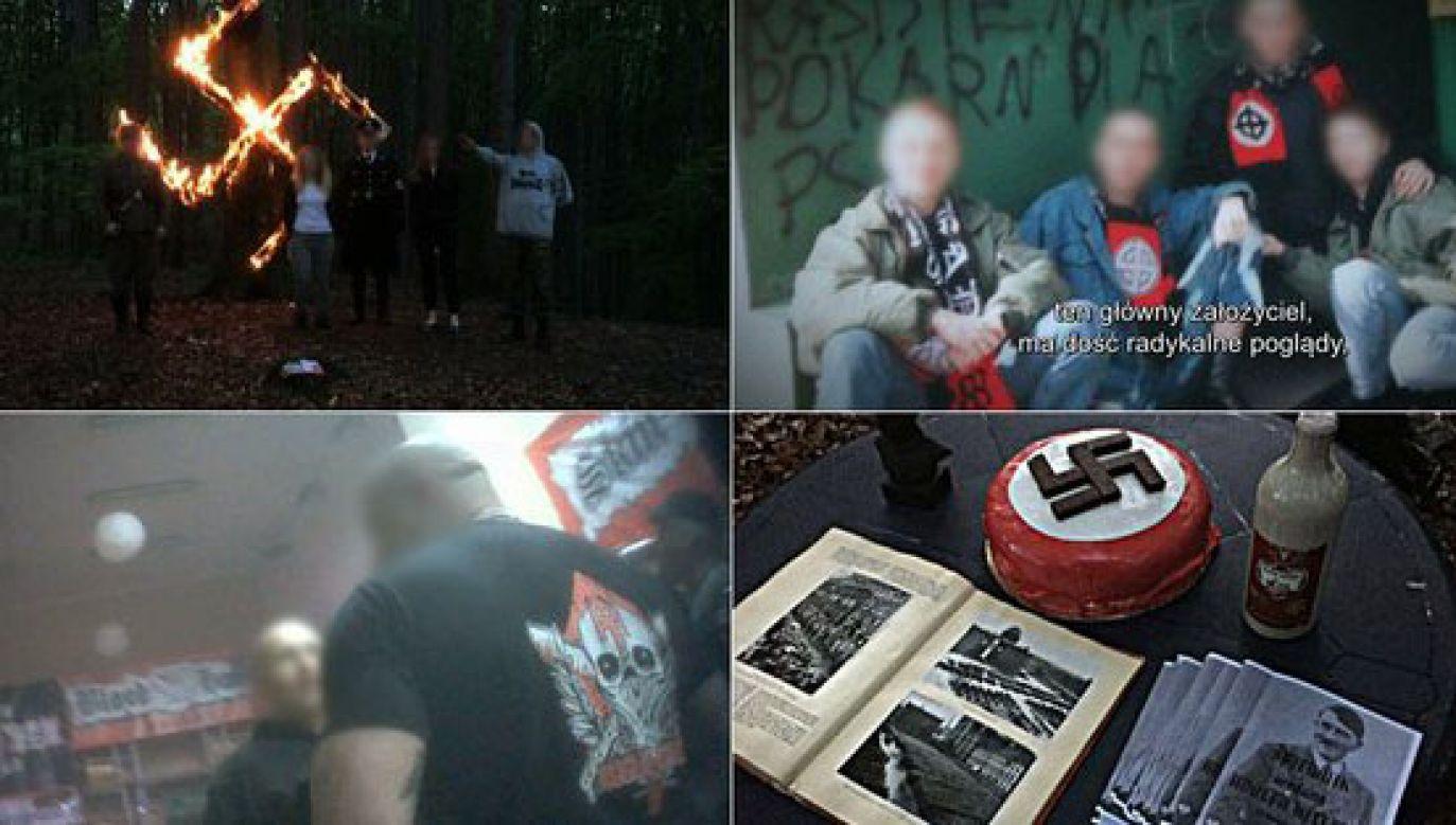Neonaziści zostali sfilmowani ukrytą kamerą (fot. Twitter/TVN)