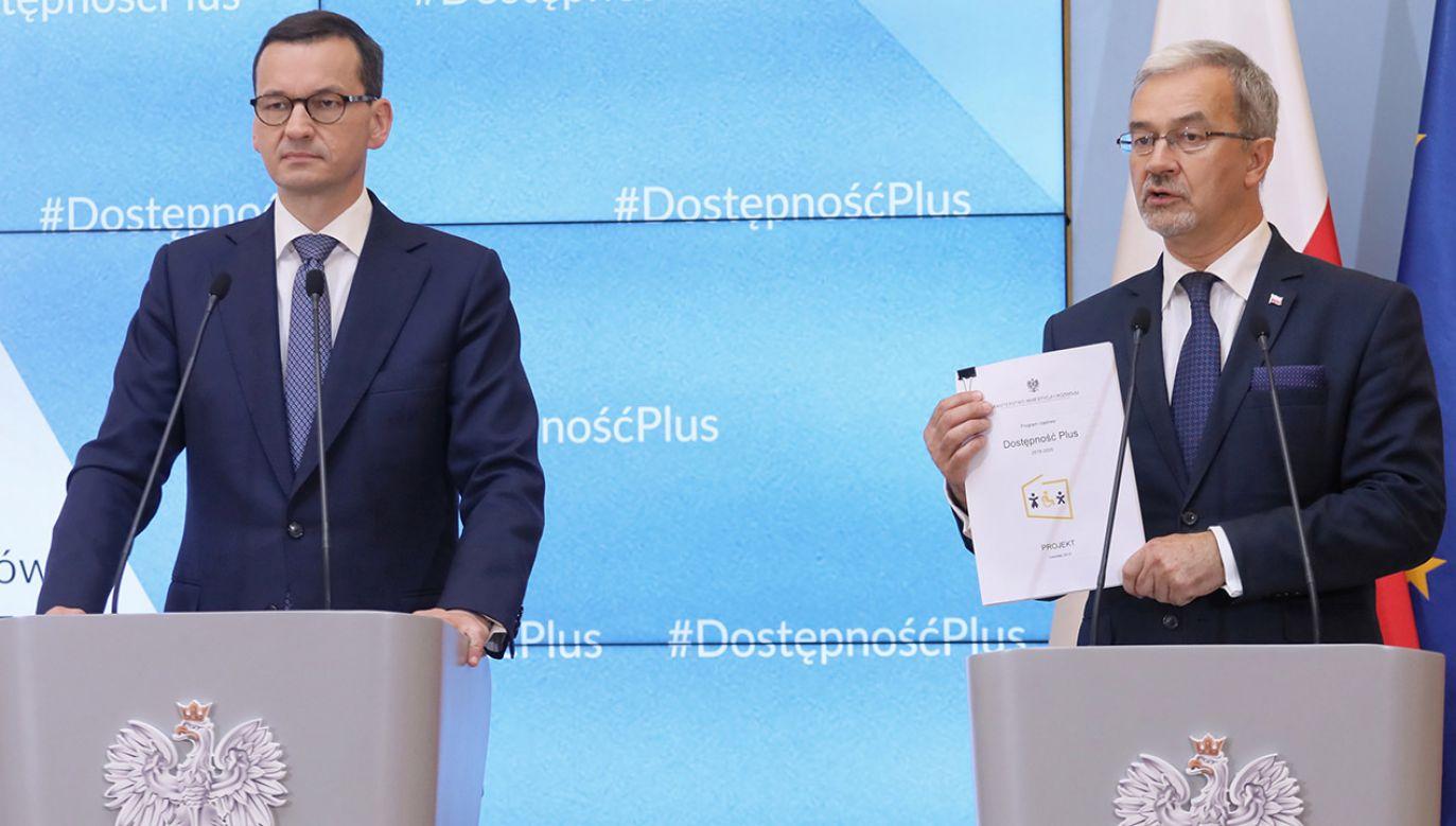Premier Mateusz Morawiecki oraz minister inwestycji i rozwoju Jerzy Kwieciński (fot. PAP/Paweł Supernak)