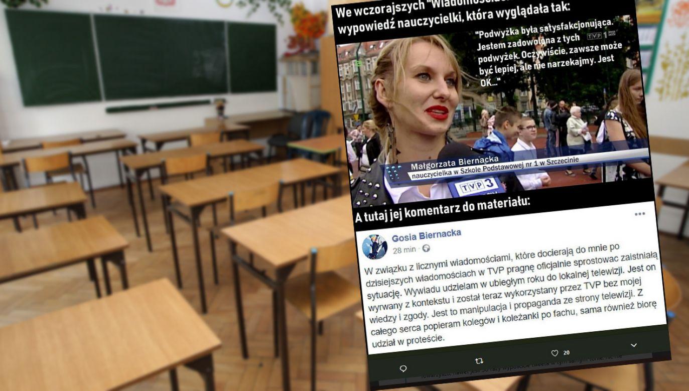 """Materiał """"Wiadomości"""" o strajku nauczycieli i podwyżkach pensji spotkał się z falą nieuzasadnionej krytyki (fot. arch.PAP/ Grzegorz Jakubowski)"""