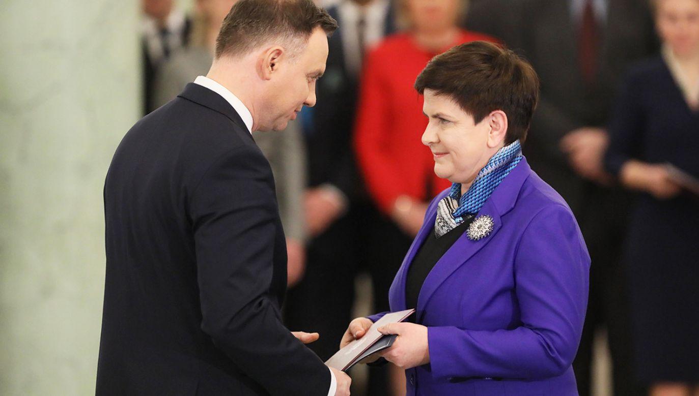 Prezydent Rzeczypospolitej Andrzej Duda i była premier Beata Szydło (fot. arch.PAP/Paweł Supernak)