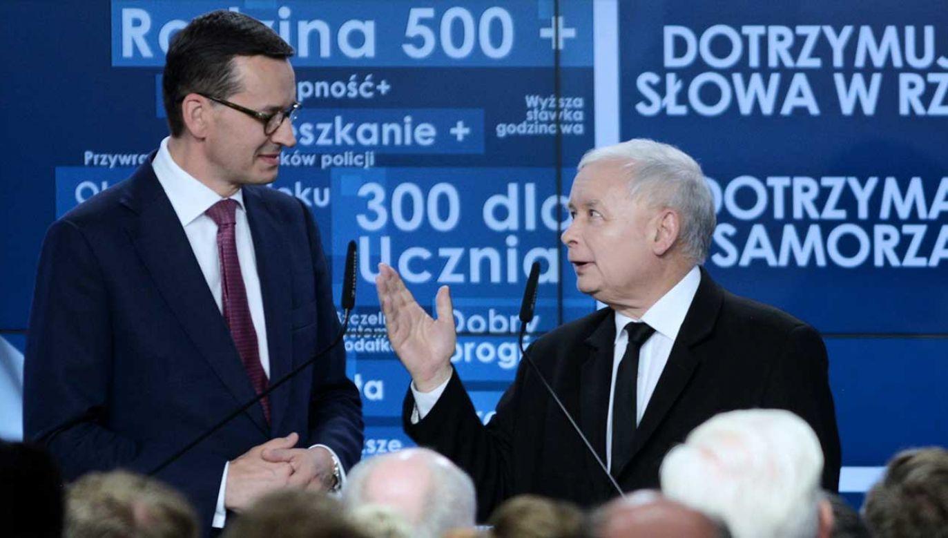 Premier Mateusz Morawiecki i prezes PiS Jarosław Kaczyński (fot. arch. PAP/Jakub Kamiński)