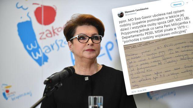 Gawor przyznała w ostatnim czasie, że dostała stopień podporucznika Milicji Obywatelskiej (fot. PAP/Bartłomiej Zborowski/TT/Sławomir Cenckiewicz)