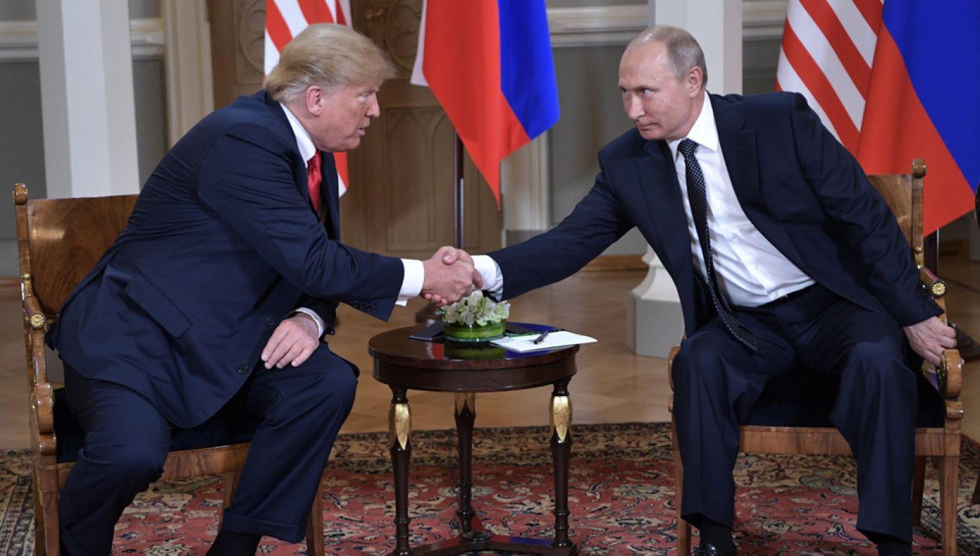 Prezydenci Donald Trump i Władimir Putin spotkali się w Helsinkach (fot. PAP/EPA/ALEXEY NIKOLSKY/SPUTNIK/KREMLIN / POOL)