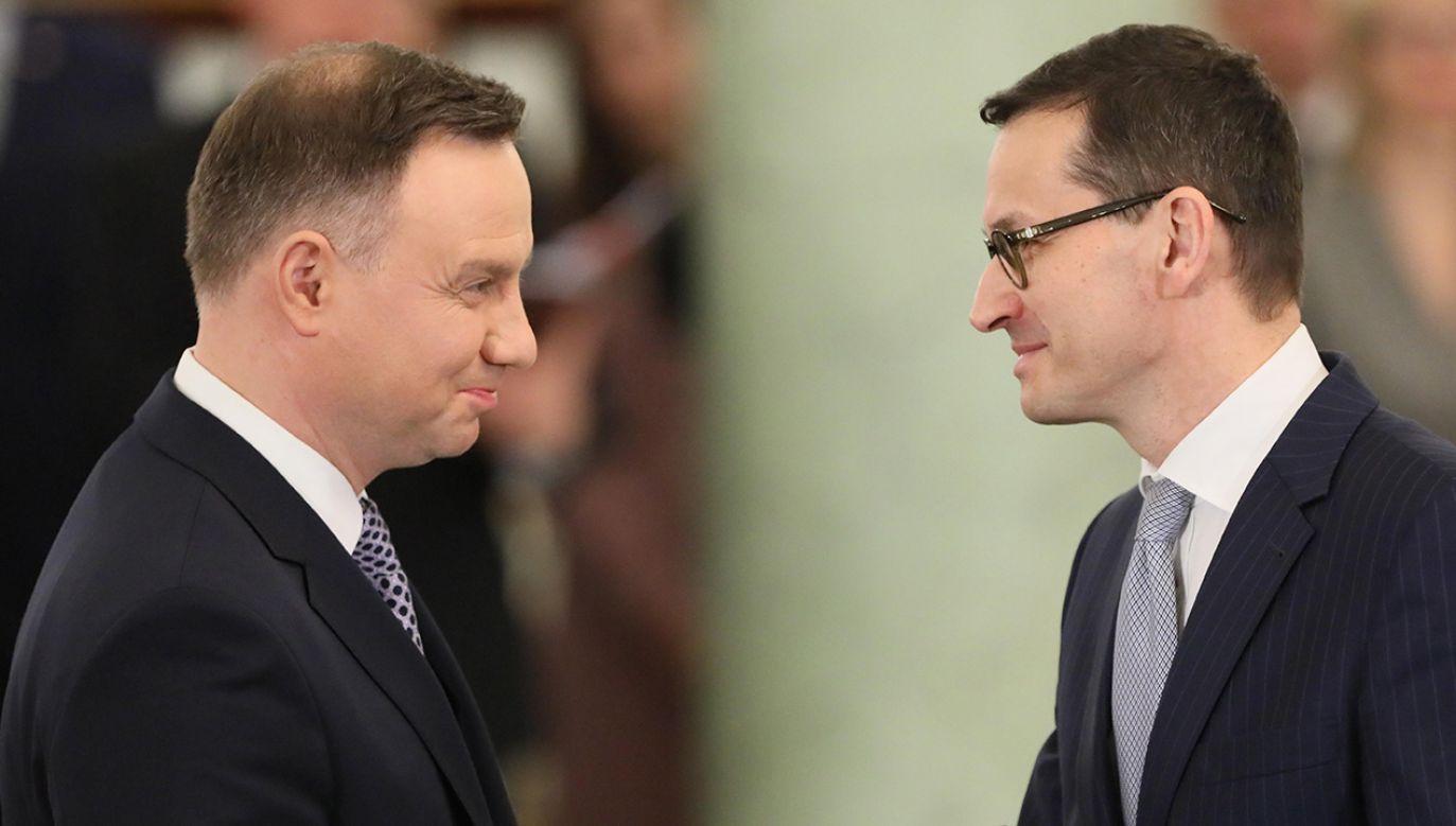 Prezydent Andrzej Duda (L) spotka się z premierem Mateuszem Morawieckim (P)  (fot. arch. PAP/Paweł Supernak)