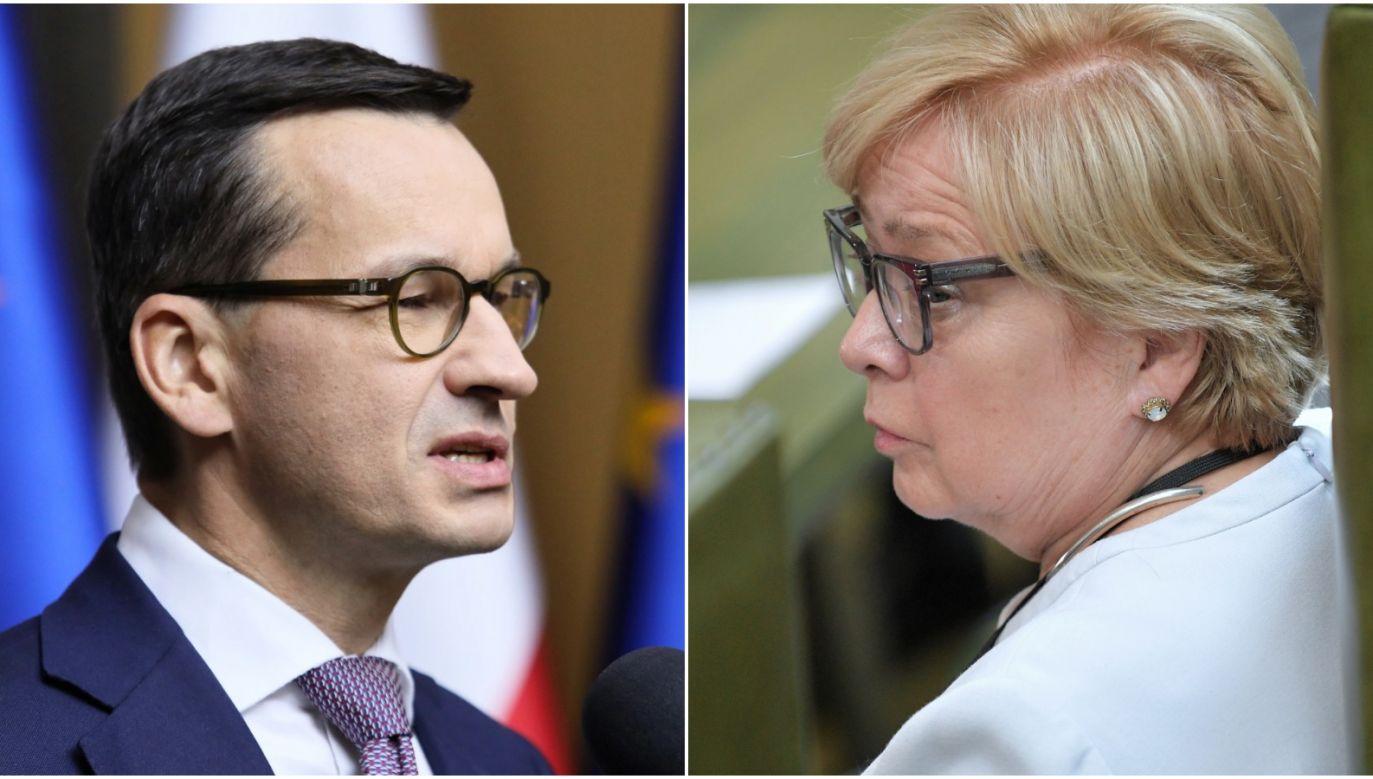 Polish PM Mateusz Morawiecki (L) and Małgorzata Gersdorf (R). Photo: PAP/Leszek Szymański/Marcin Obara