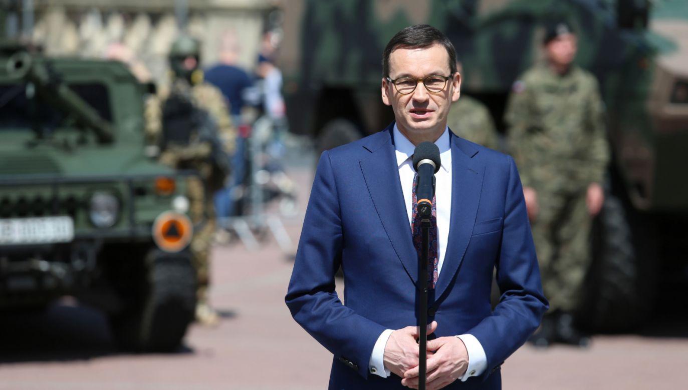 Premier Mateusz Morawiecki na uroczystościach rocznicowych w Katowicach (fot.  PAP/Andrzej Grygiel)
