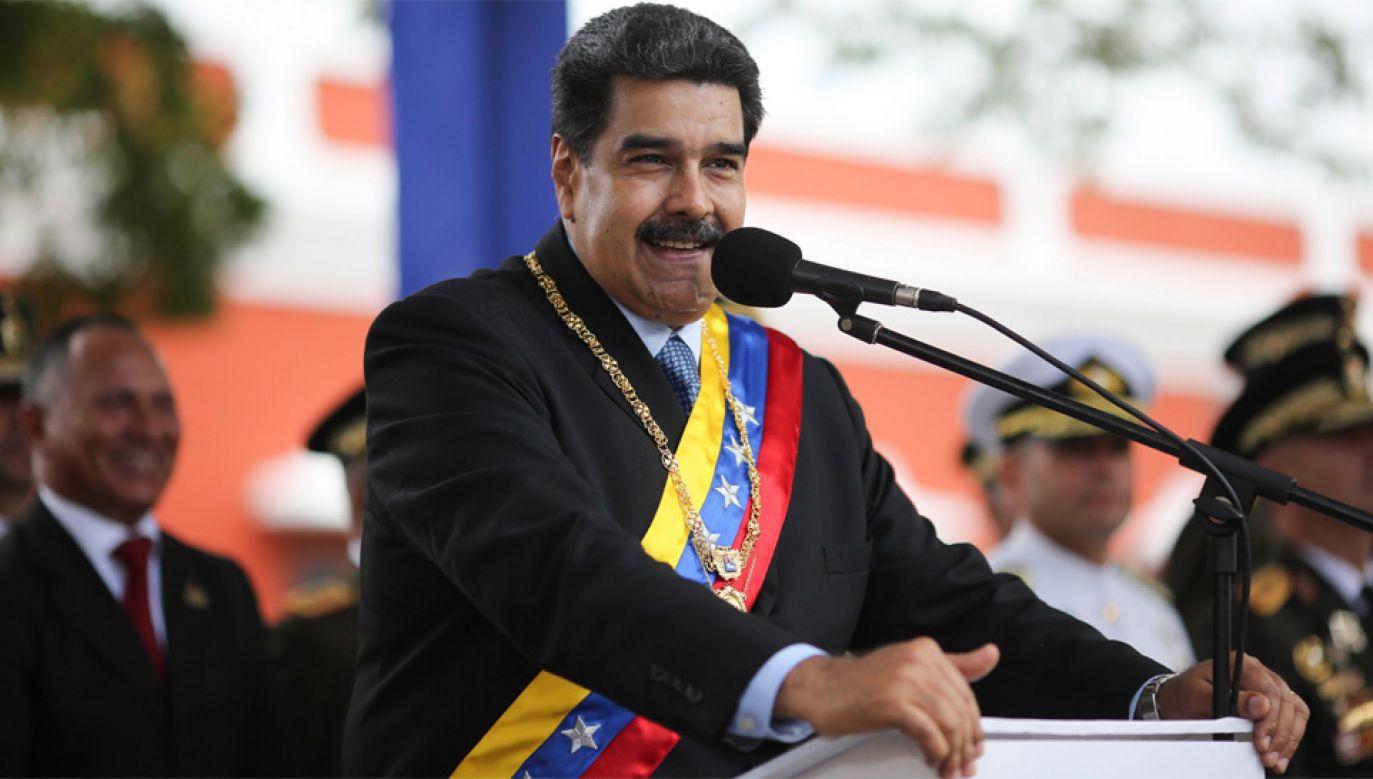 Nicolas Maduro nie zamierza oddawać władzy (fot. PAP/EPA/MIRAFLORES PRESS OFFICE HANDOUT)