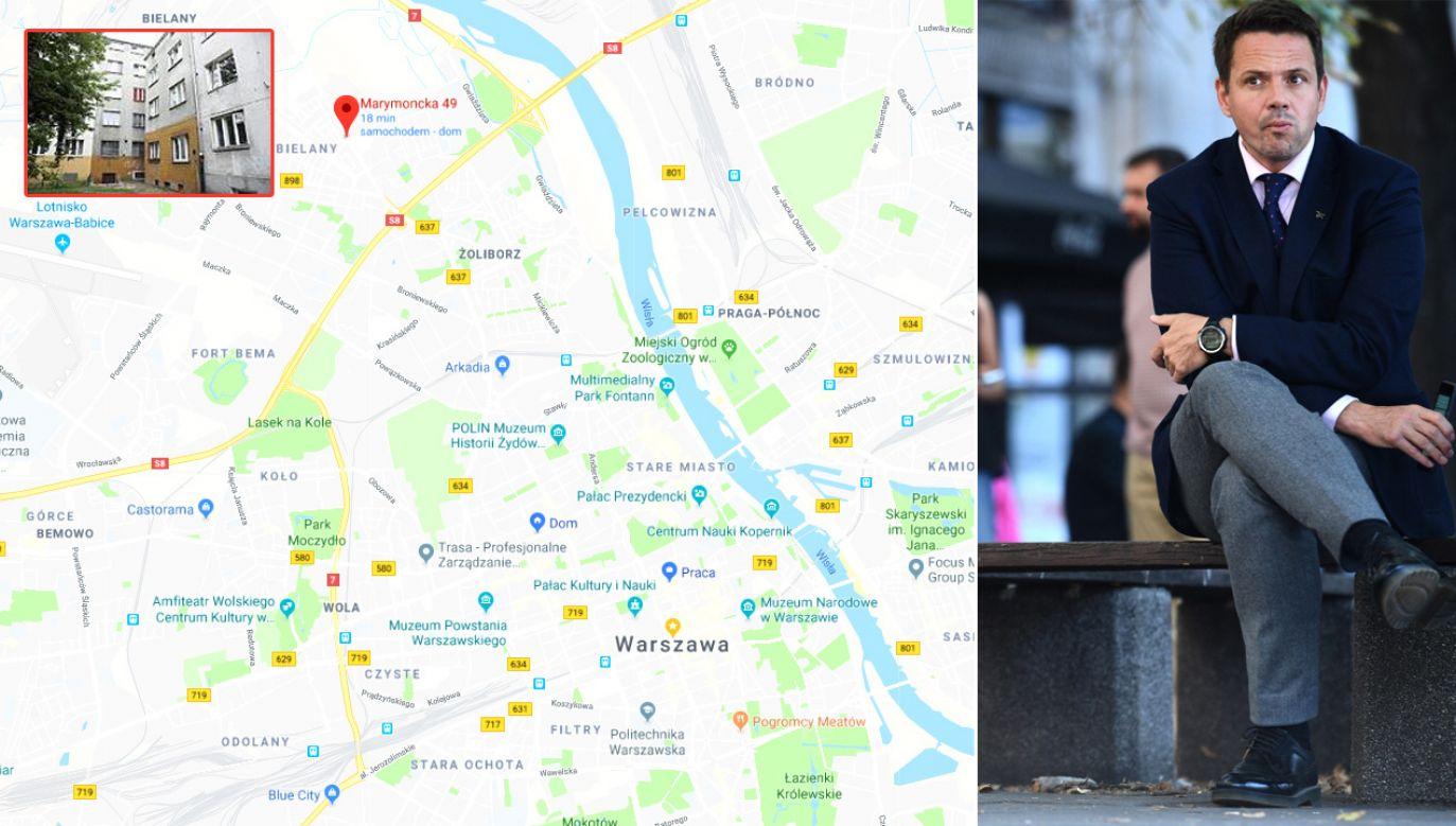 Rafał Trzaskowski pomylił Śródmieście z Bielanami (fot. Mapy Google/PAP/Jacek Turczyk)