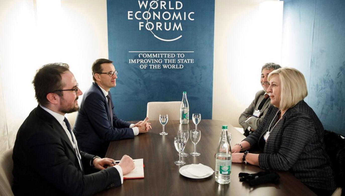 Premier Mateusz Morawiecki spotkał się w Davos z szefami VISA Europe oraz AT&T Communications (fot. KPRM/Krystian Maj)