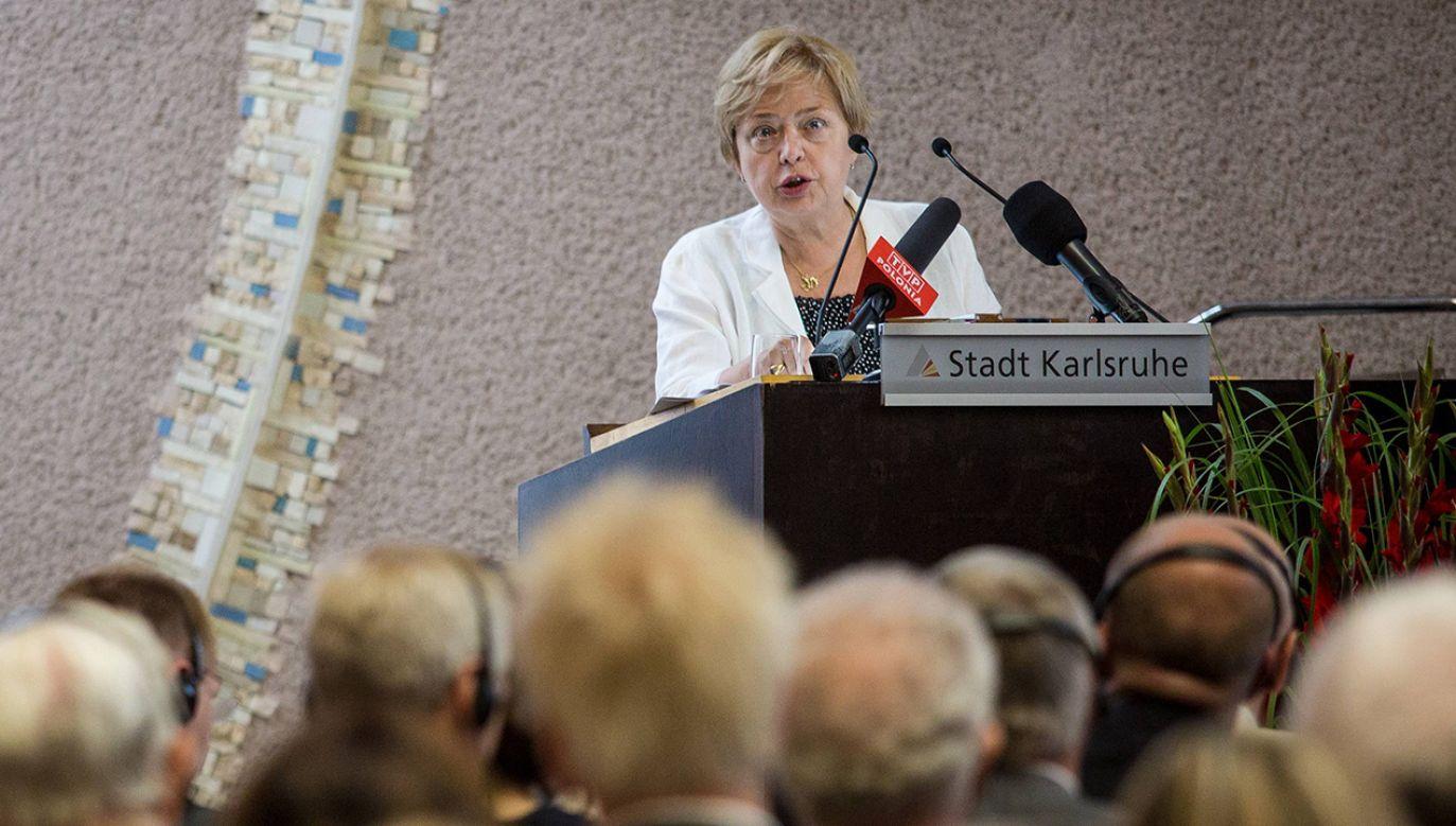"""""""W tej chwili mamy pełniącego obowiązki prezesa z mojego umocowania"""" – powiedziała sędzia Małgorzata Gersdorf (fot. PAP/DPA/Christoph Schmidt)"""