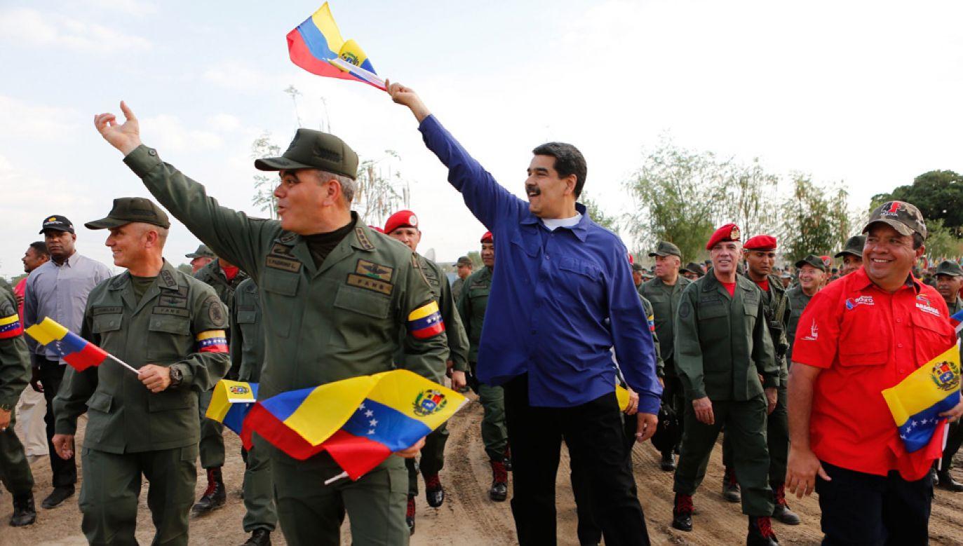Urzędującego prezydenta Wenezueli Nicolasa Maduro wspiera m.in. Rosja (fot. PAP/EPA/MIRAFLORES PRESS / HANDOUT)
