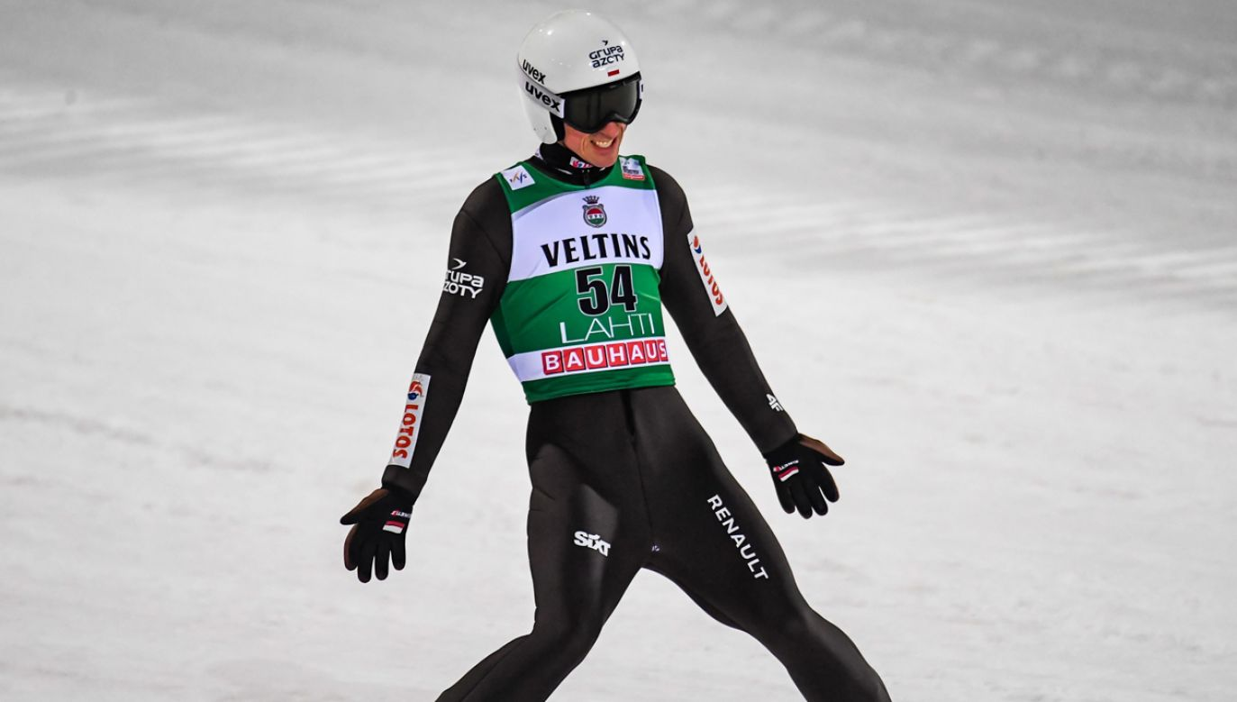 Piotr Żyła po skoku w Lahti (fot. PAP/EPA/KIMMO BRANDT)