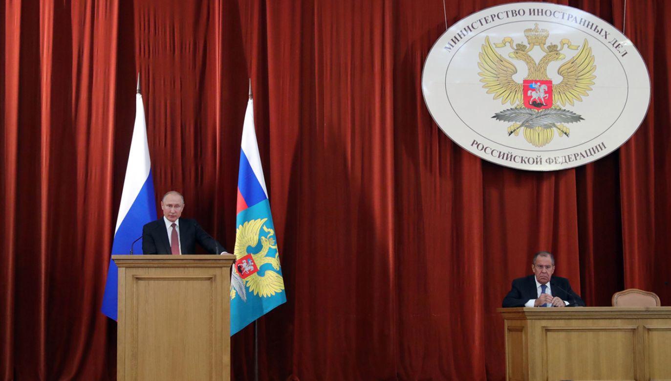 Prezydent Rosji oskarżył kraje NATO o agresywne kroki wobec swojego kraju (fot. PAP/EPA/MICHAEL KLIMENTYEV / SPUTNIK / KREMLIN POOL)