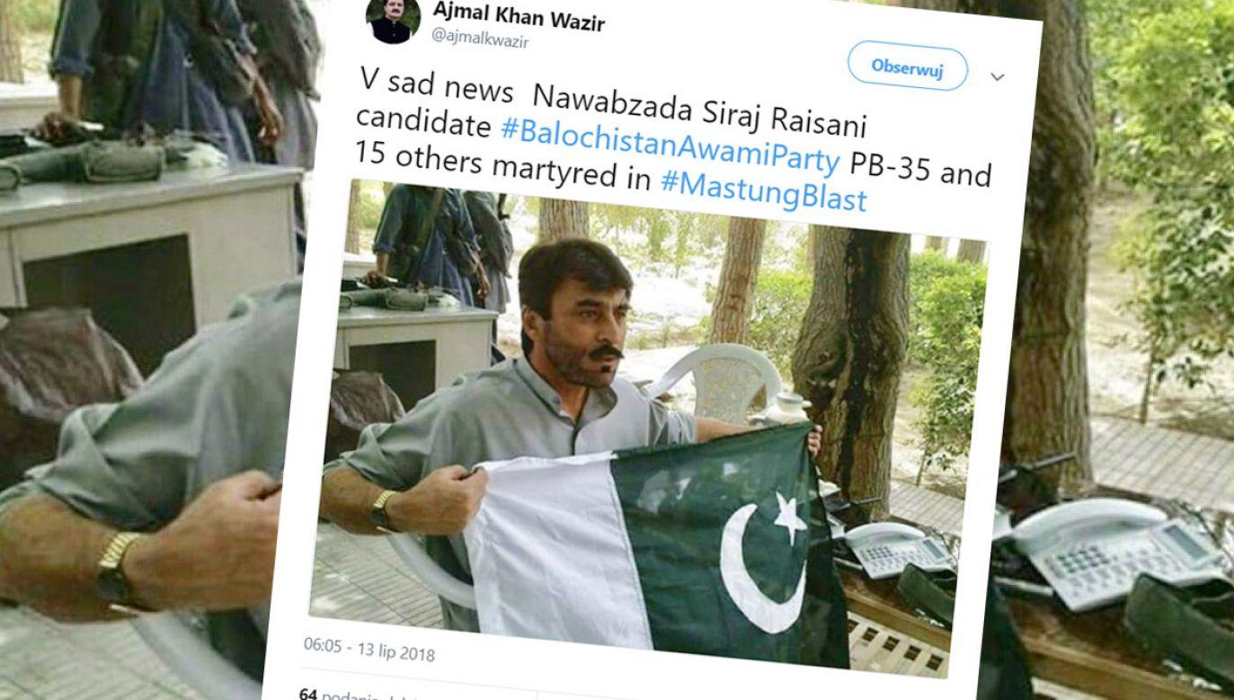 Pakistański polityk Mir Siraja Raisani zginął w wyniku eksplozji, gdy udawał się na wiec wyborczy (fot. tt/@ajmalkwazir)