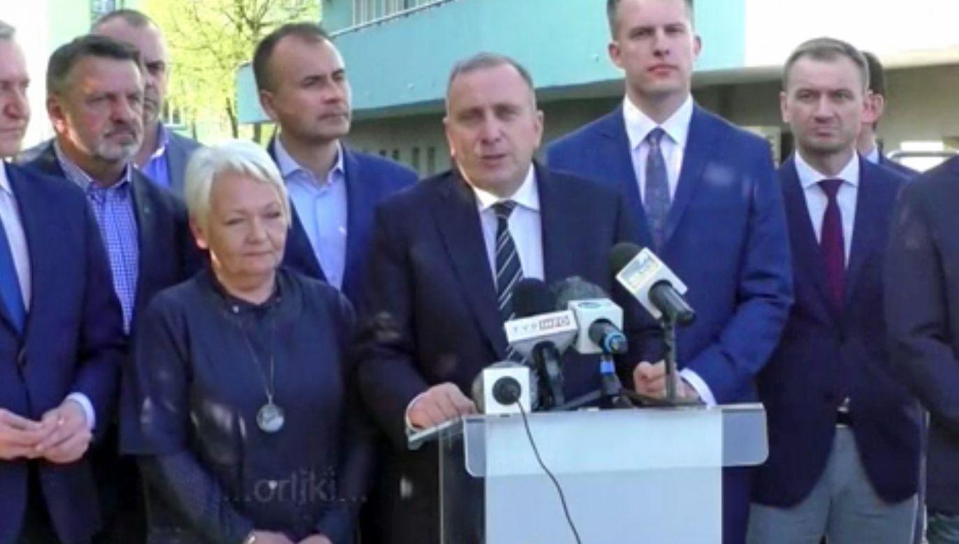Konferencja w Goleniowie (fot. TVP Info)