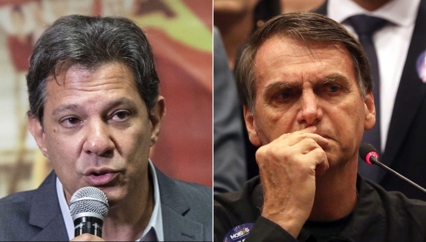 Kandydaci na stanowiskio prezydenta: (fot. Fernando Haddad (L), Jair Bolsonaro (P))