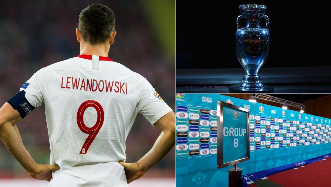 Robert Lewandowski i Puchar Henriego Delaunaya (fot. Getty Images)