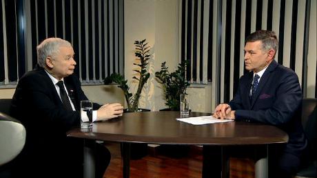 Jarosław Kaczyński i Marcin Rosiński (fot. TVP3 Wrocław)
