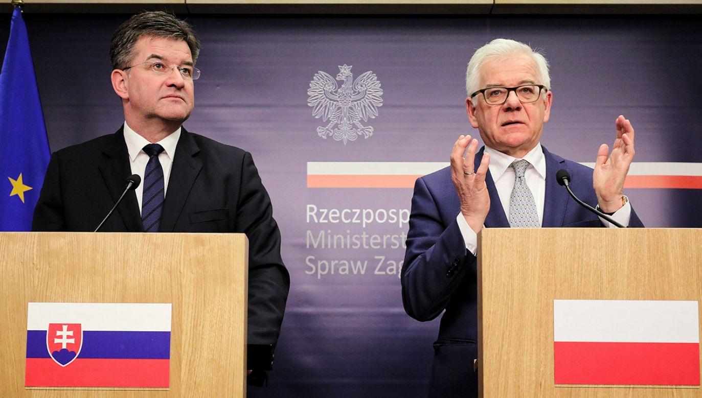 Szefowie MSZ Słowacji i Polski na konferencji prasowej w Warszawie (fot. PAP/Paweł Supernak)
