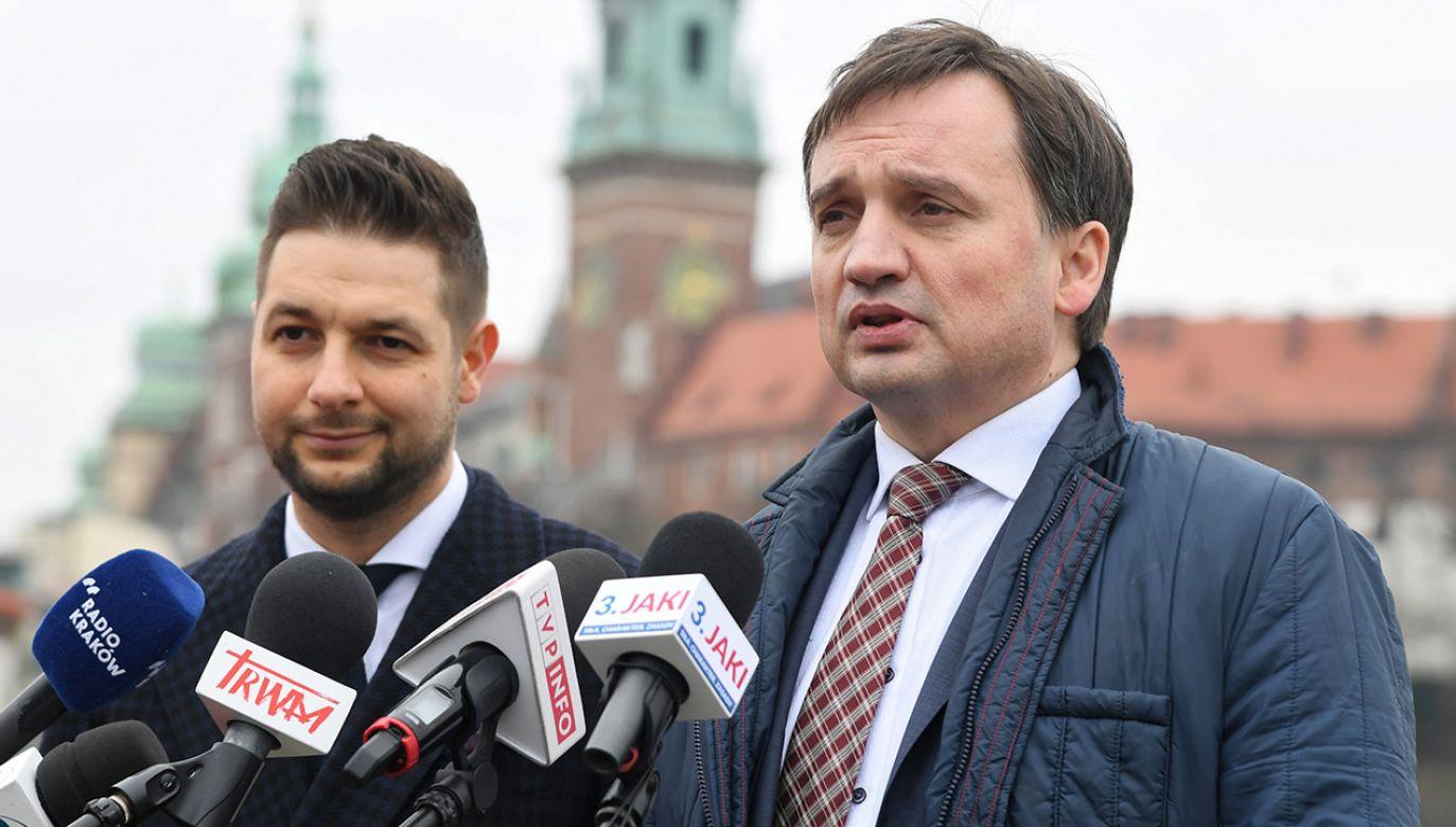 Minister sprawiedliwości poparł w wyborach do PE Patryka Jakiego (fot. PAP/Jacek Bednarczyk)