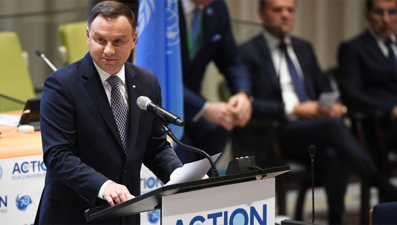 Prezydent Andrzej Duda wziął udział w debacie w siedzibie ONZ (fot. PAP/Radek Pietruszka)