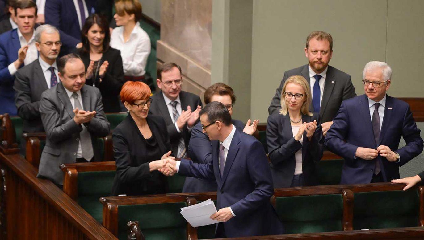 """Premier prosił w środę Izbę """"o ocenę ostatniego roku i ostatnich trzech lat"""" rządów Zjednoczonej Prawicy (fot.PAP/Jakub Kamiński)"""