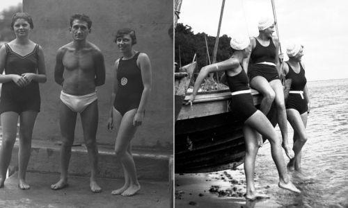 Rok 1927/33. Plażowicze w strojach kąpielowych. (fot. NAC)