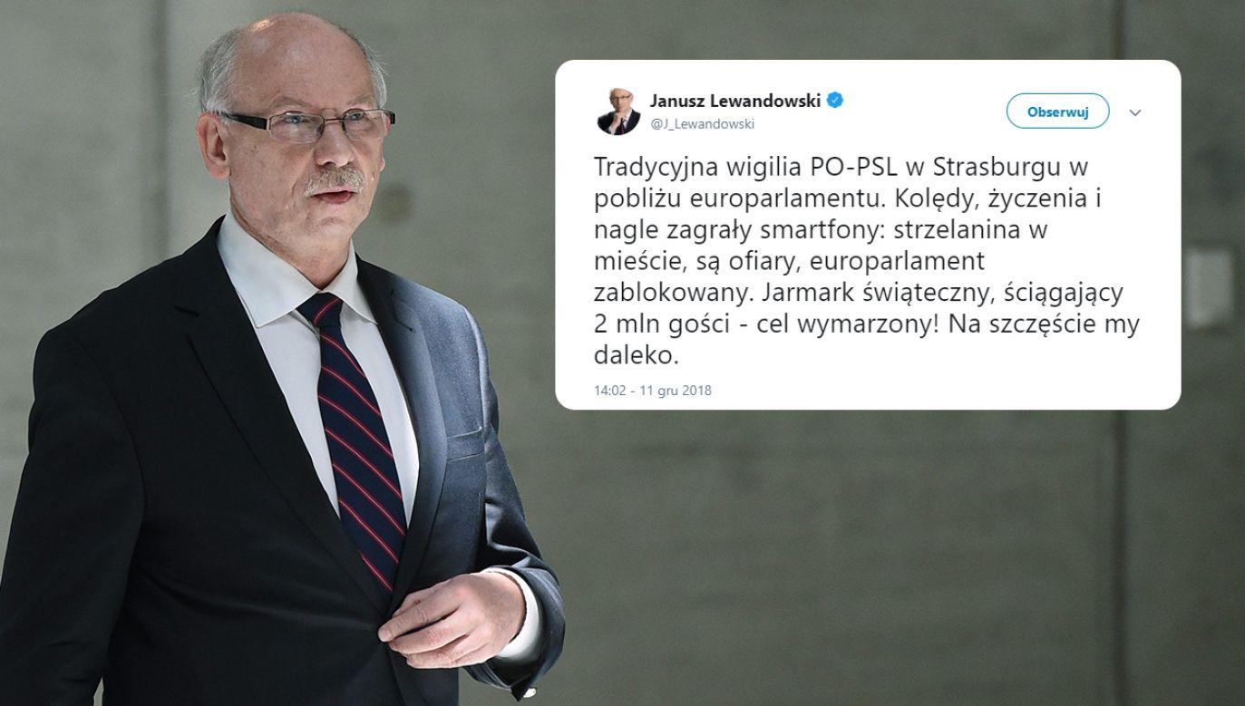 Ton, w jakim Janusz Lewandowski skomentował atak, w którym zginęły 3 osoby, wzbudził wiele kontrowersji (fot. arch. PAP/Radek Pietruszka/TT/Janusz Lewandowski)