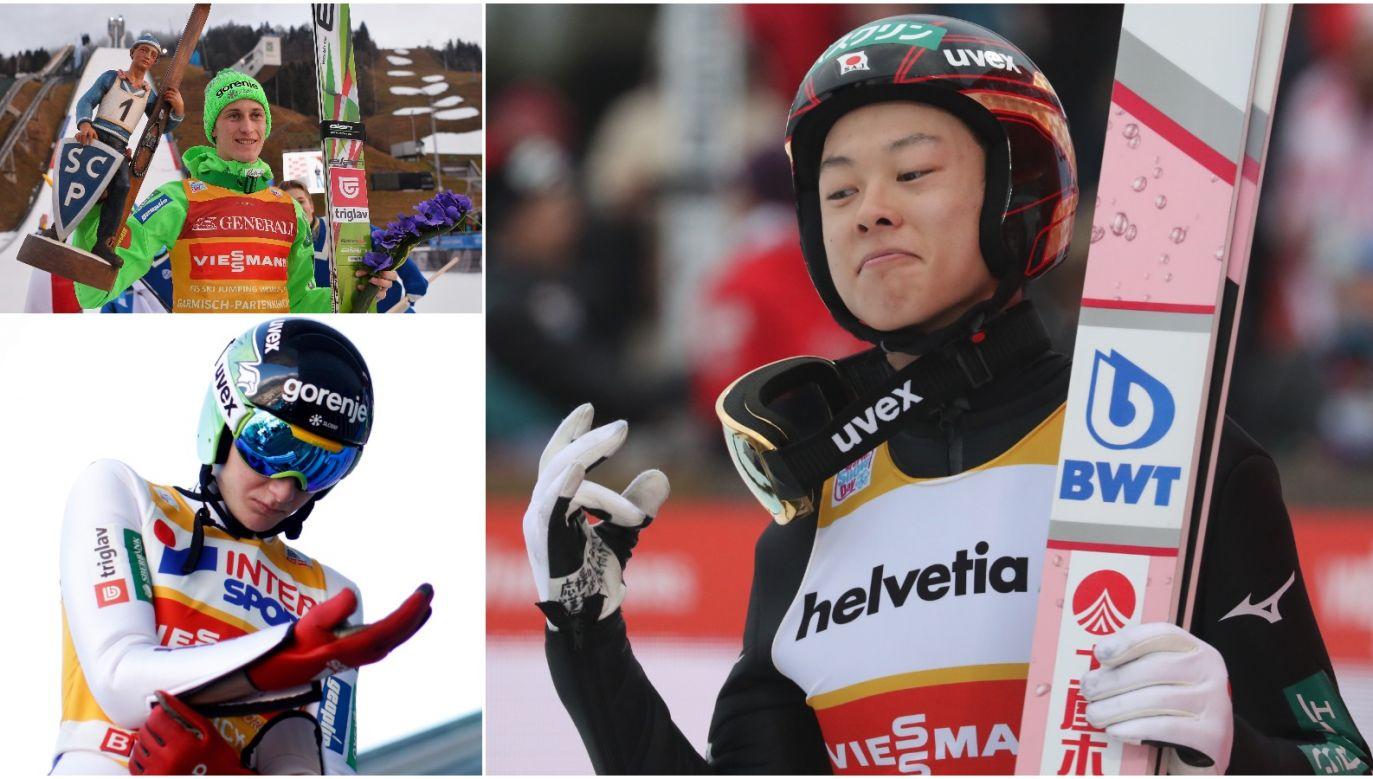 Peter Prevc (L, góra) po wygranej w Ga-Pa 2016, Domen Prevc (L, dół) w Ga-Pa rok później oraz Ryoyu Kobayashi w Engelbergu (P) (fot. Getty)