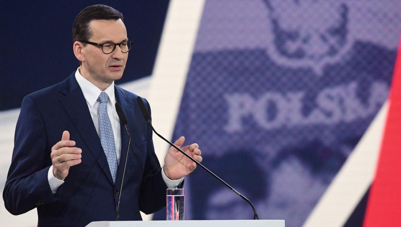 Premier Mateusz Morawiecki na konwencji PiS (fot. PAP/Radek Pietruszka)