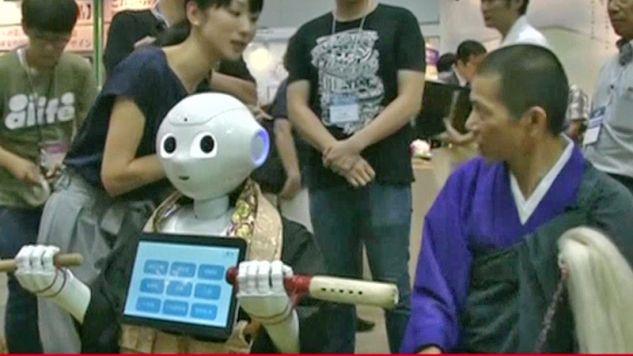 Robot o imieniu Pieprz pojawił się na japońskich targach funeralnych (fot. TVP Info)