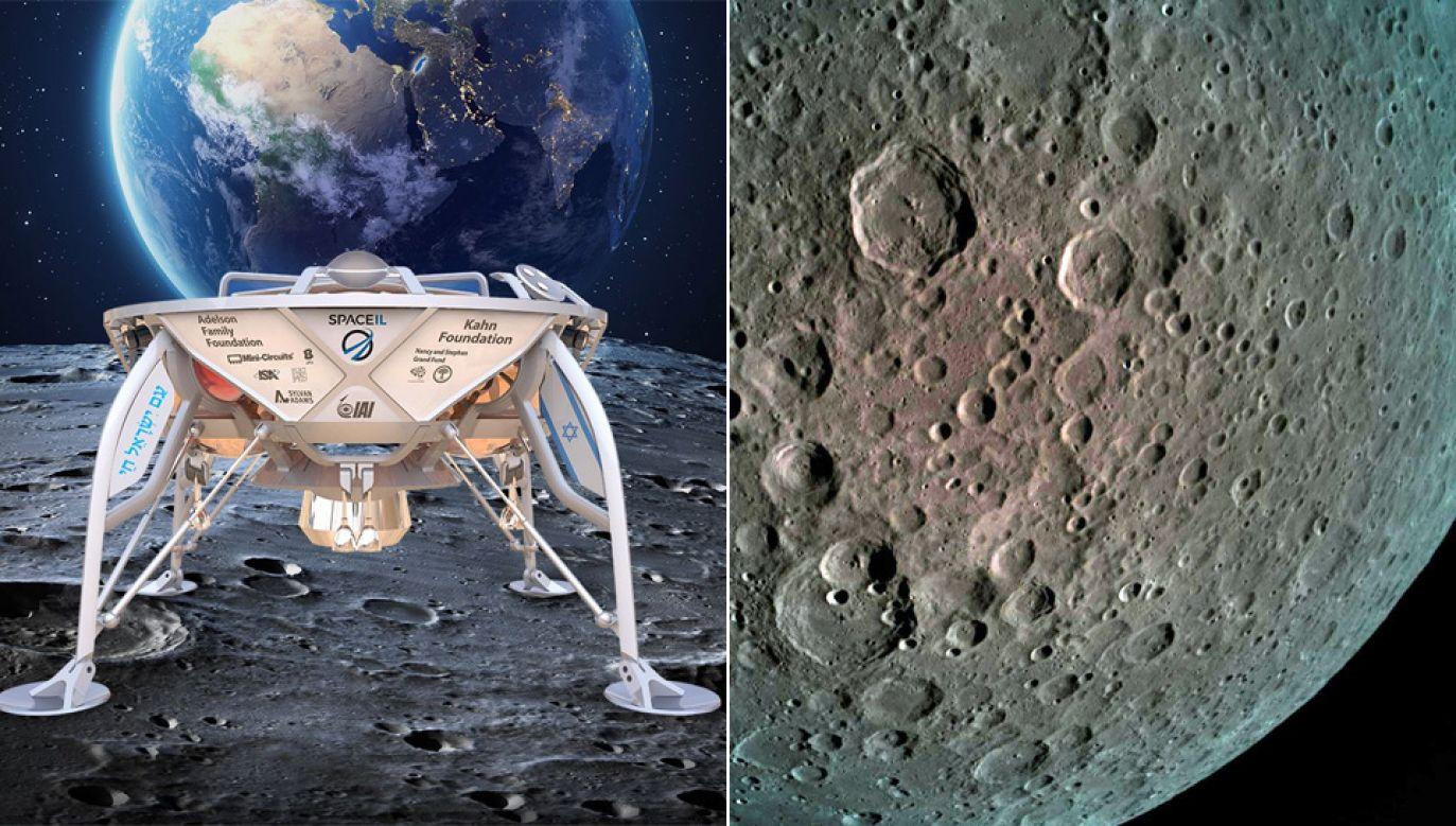 Symulacja izraelskiej sondy na Księżycu (L) i zdjęcia powierzchni  Srebrnego Globu (P) (fot. FB/SpaceIL)