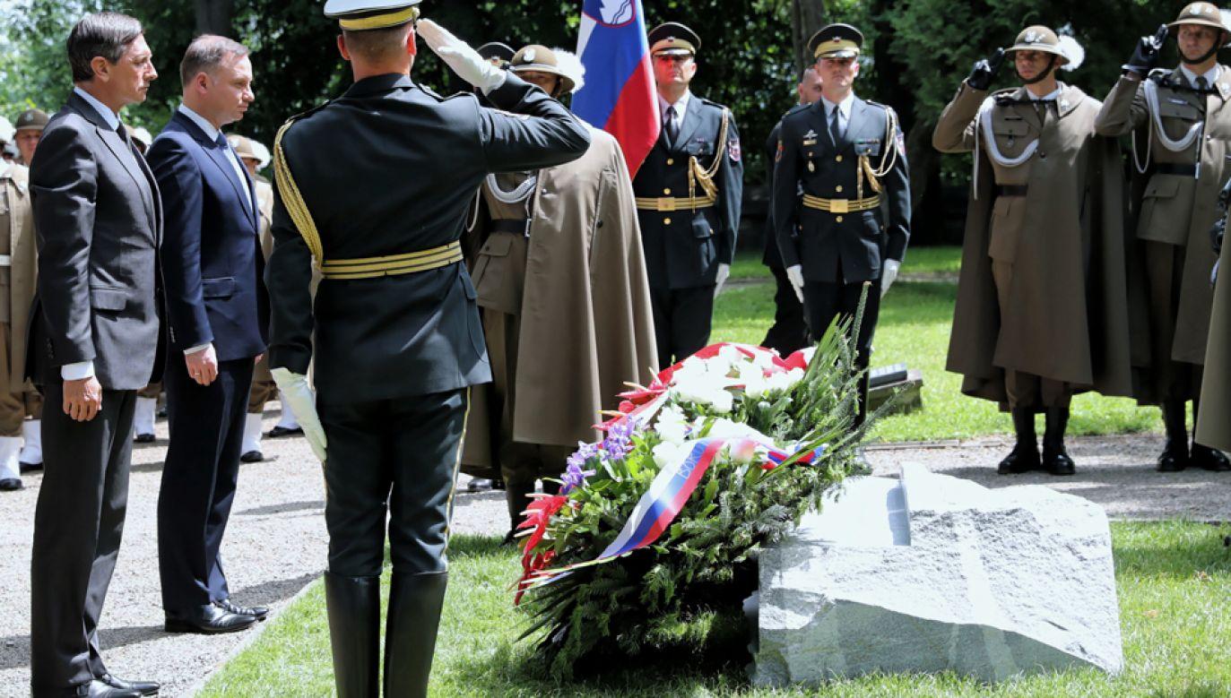 Prezydent Andrzej Duda (2L) i prezydent Słowenii Borut Pahor (L)  (fot. PAP/Grzegorz Momot)